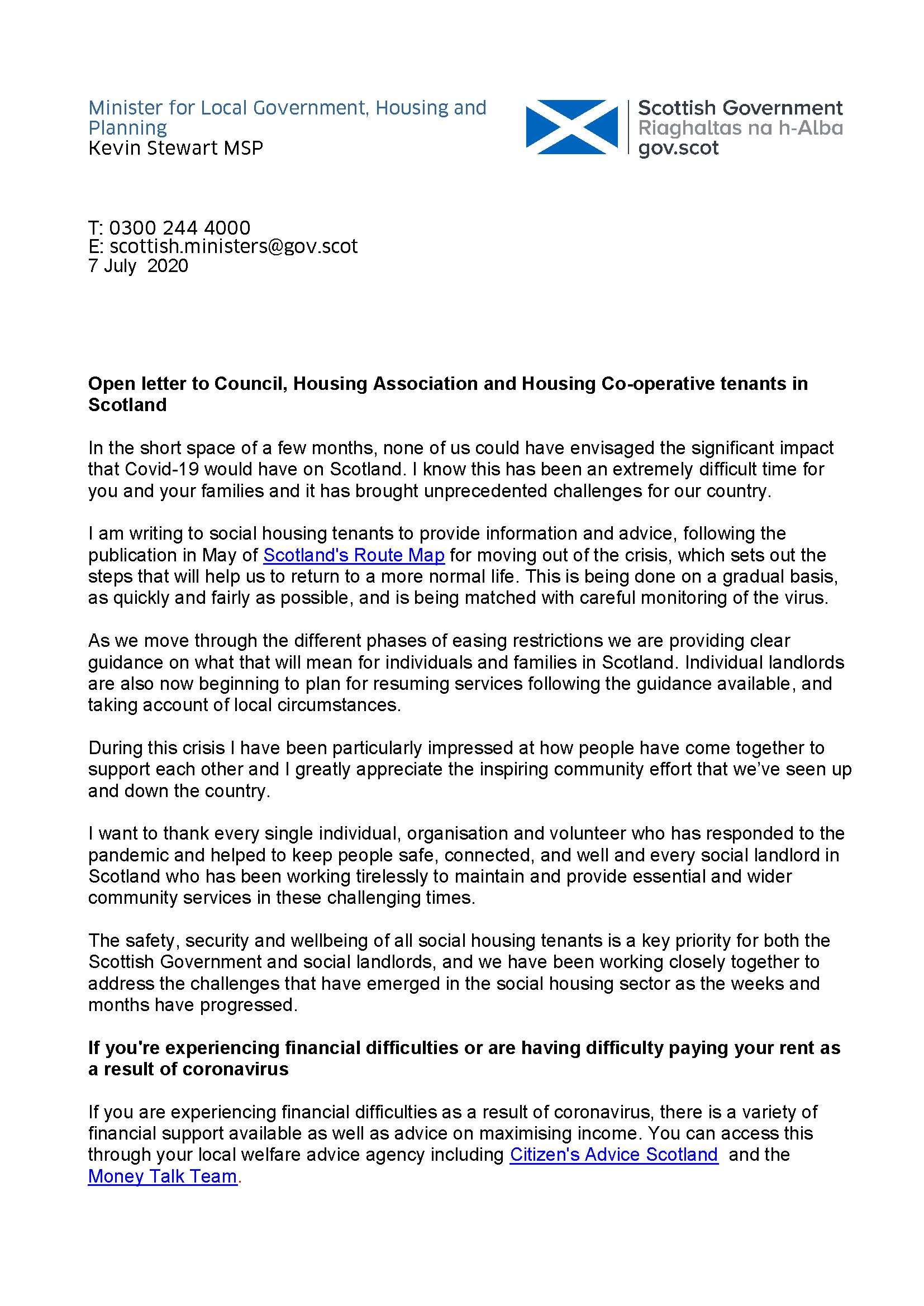 7 July 2020 Letter to social housing tenants from Minister for Local Government Housing and Planning